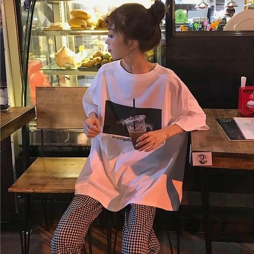 【送料無料】 Tシャツコーデ♡ オーバーサイズ Tシャツ + チェック柄 ストレートパンツ カジュアル セットアップ