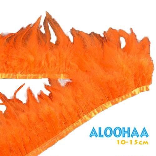 フェザーロール【オレンジ】単色10-15cm丈 1m DIY 羽 衣装材料 タヒチアン