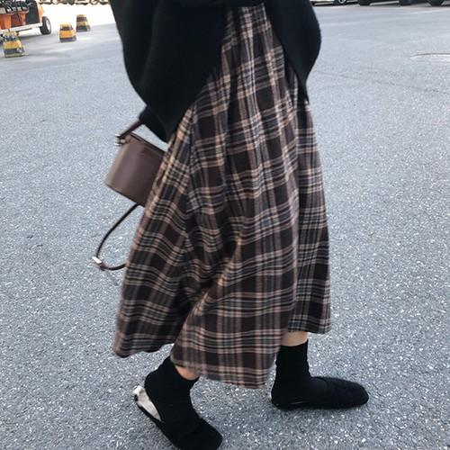 【ボトムス】レトロ秋冬すね丈チェック柄ハイウエストAラインスカート