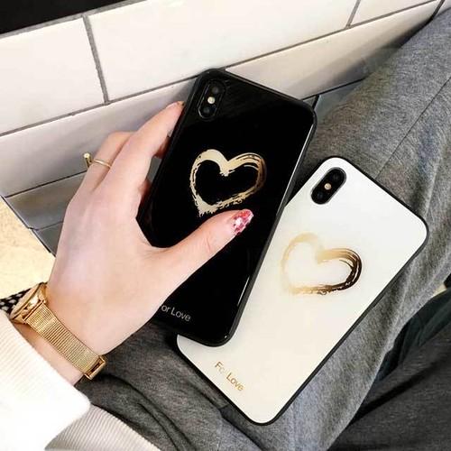 ハート 手書き風 グラスケース iPhone シェルカバー ケース ブラック ホワイト ゴールド クール ★ iPhone 6 / 6s / 6Plus / 6sPlus / 7 / 7Plus / 8 / 8Plus / X /SE(第2世代)★ [MD404]