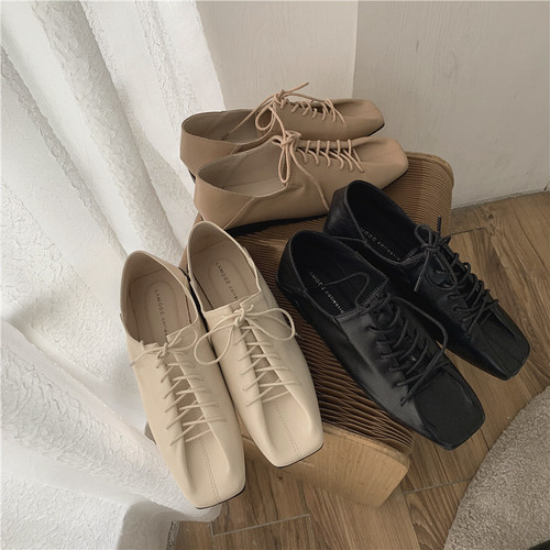3color : Square toe Lace up Babouche 92057   スクエアトゥ レースアップ バブーシュ