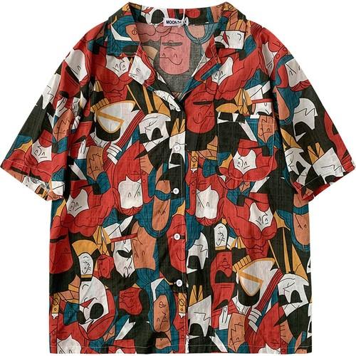 カジュアル 夏 オシャレ 折り襟 半袖 個性的 着痩せ シャツ・トップス