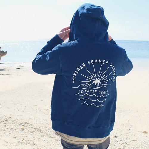 OKINAWAN BEACH ➡︎ back print Nami Indigo Denim Zip Parker