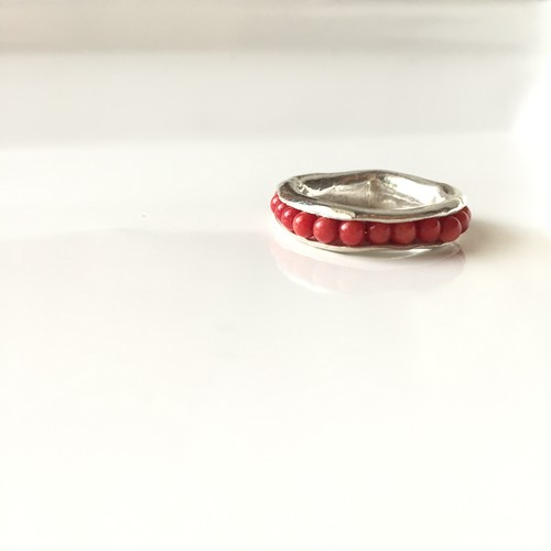 Hold Ring silver type / coral #13