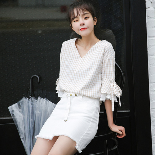 plated bell sleeve fril blouse 1587