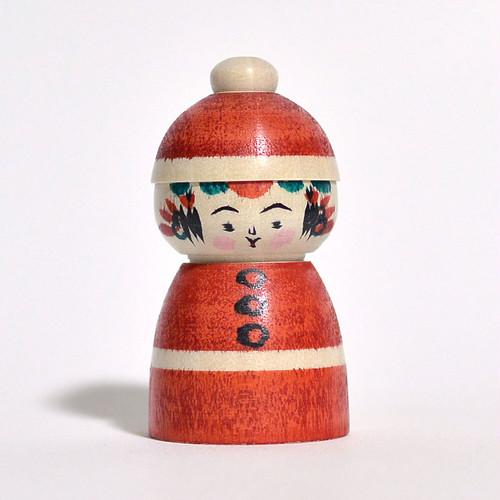 クリスマスサンタこけし 約2寸 約6cm 高田稔雄 工人(弥治郎系)#0044