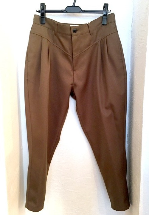 Stretch Twill Tapered Cropped Pants Khaki