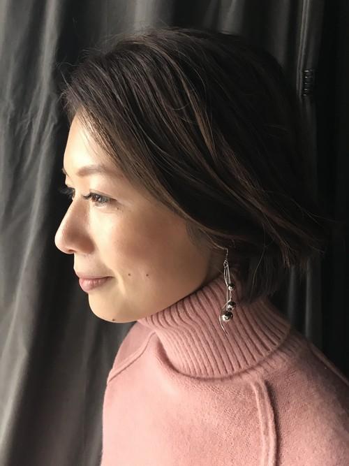 metallic silver ball earring