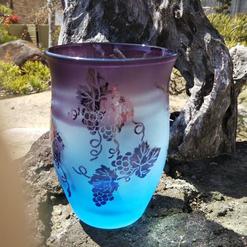 大型タンブラー(ブルー地紫)葡萄