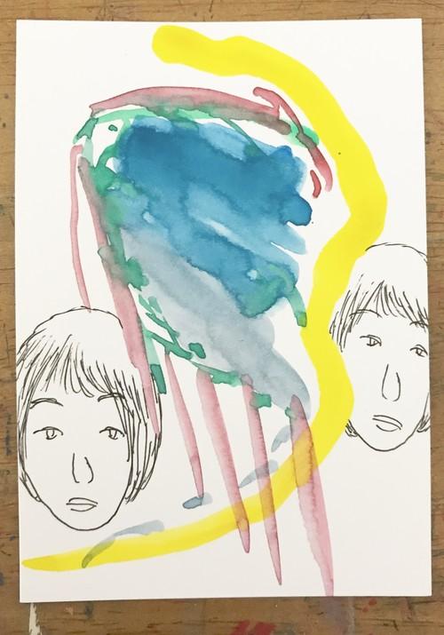 直筆ミニ絵画【光る魂、どこへゆく】