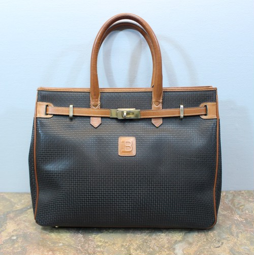 .BALLY LEATHER BELTED HAND BAG MADE IN ITALY/バリーレザーベルテッドハンドバッグ 2000000030630