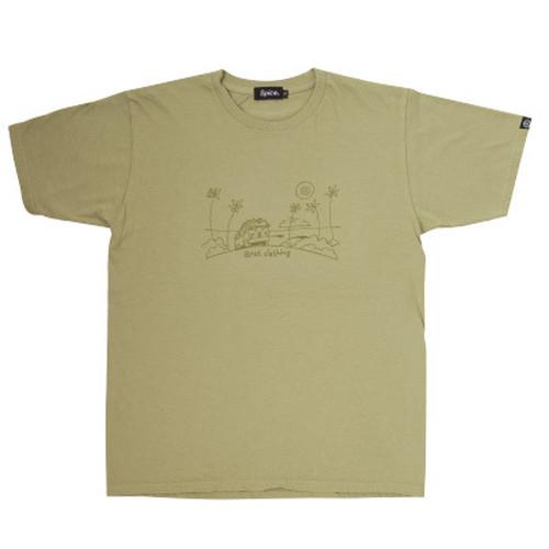 後染めプリントTシャツ アーミーグリーン