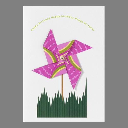 カラフル風車のカード Pink  #172
