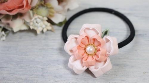 つまみ細工*桜の花のヘアゴム