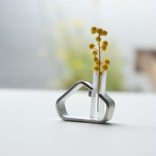 小さなガラス管と錫のおうち花器tnv2【期間限定レターパックライト送料無料】