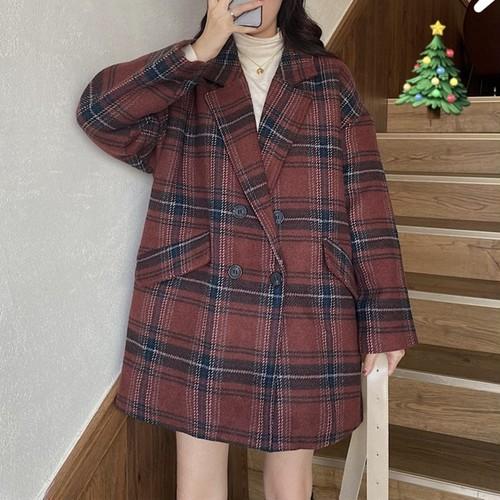 【アウター】ファッションチェック柄長袖ルーズ保温コート