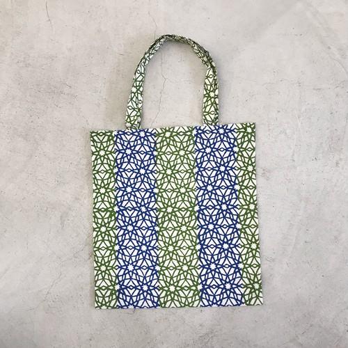 ブロックプリントのコットンバッグ[緑]クラフトリンク