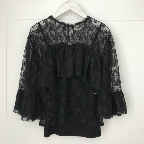 EAUSEENON Flower lace cut and sew Black