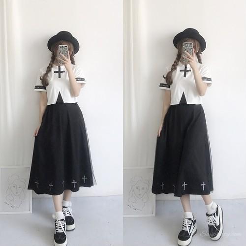 【セットアップ】シンプル配色韓国系トップス+ゆったりメッシュスカート2点セットアップ