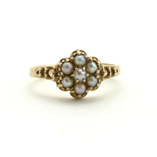 Victorian Natural Pearl Cluster Ring