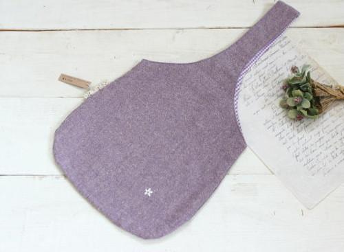 ワンハンドルバッグ*コットンリネンワッシャーパープル  お花の刺繍/LePetitMarche