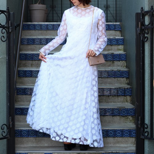 USA VINTAGE FLOWER LACE DRESS ONE PIECE/アメリカ古着花柄レースドレスワンピース