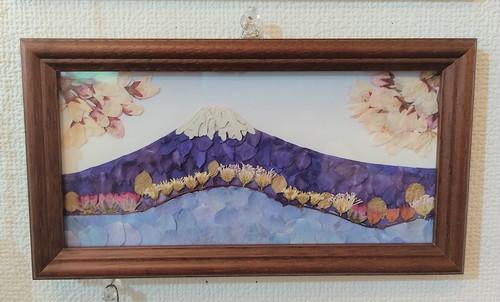 押し花額(長方形)「富士山と河口湖」