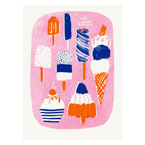 ✸ワケアリSALE✸ Ice Creams Risograph Wall Print
