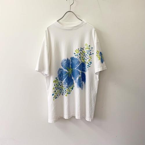 フラワープリントTシャツ ブルー one size USA製 古着