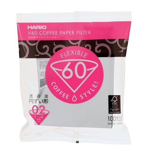 ハリオV60ペーパーフィルターVCF-02-100W白 1~4杯 100枚入り 350円