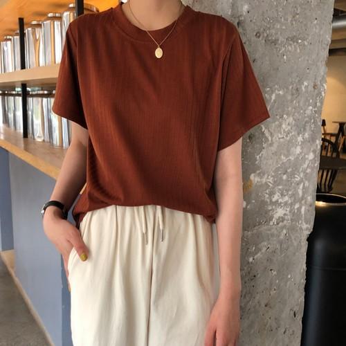 【トップス】超人気簡単オシャレラウンドネックニットシンプルTシャツ21117268