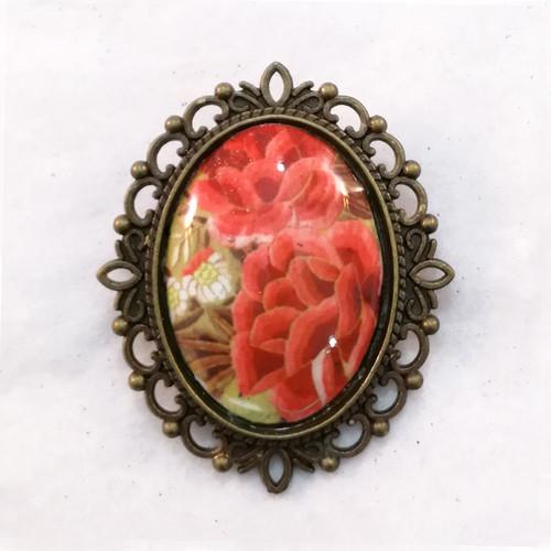 FE-Brc_PurezaCoral ブローチ マントン刺繍柄・コーラル系  スペイン製