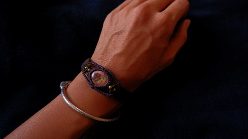Mexican Opal Macrame Bracelet