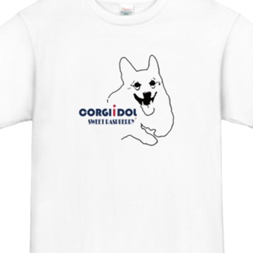 コーギーTシャツ・デザイン:コーギーイラスト,カラー:ホワイト