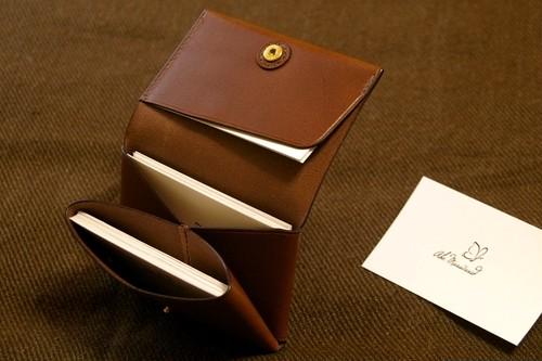 一枚革の名刺入れ・カードケース(革色:チョコ) 【受注生産】【送料込み】