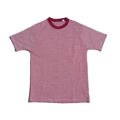80s BurgundyBorderPocketT-Shirts