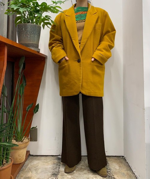 gaston jaunet MADE IN USA  single breast wool mix coat【38】