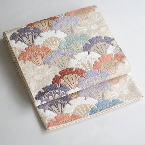 本金箔正絹袋帯 アイボリーに雪輪、蝶、青海波