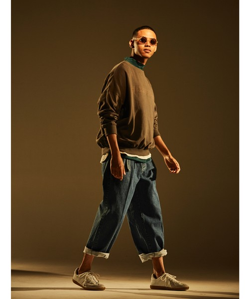 Belt Tuck Wide Pants Denim -indigo <LSD-BJ1P2>
