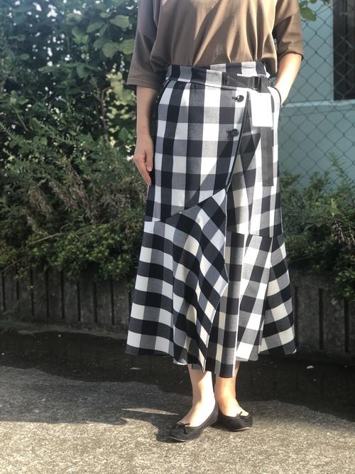 Lallia Mu/ブロックチェックラップスカート/(オフ×ブラック)