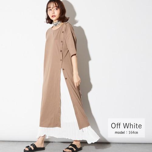 【すっきりシルエットラインでスタイルアップに★】クリンクル プリーツスカート オフホワイト