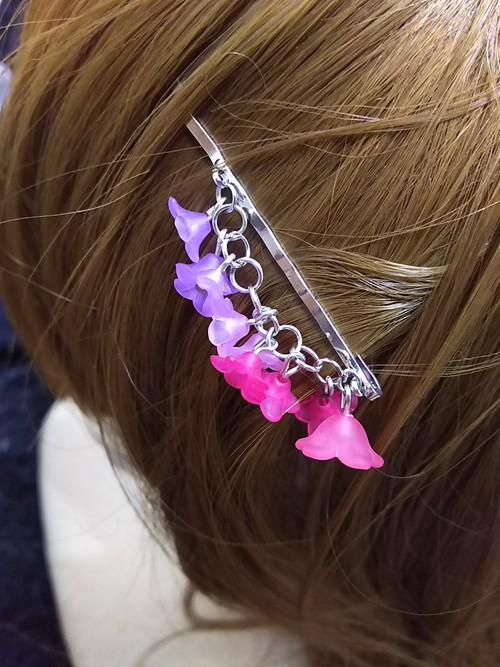 枝垂れヘアピン ピンク〜紫