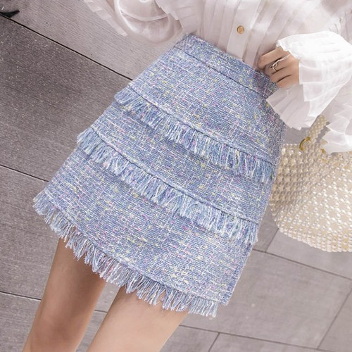 tweed frill skirt 3color