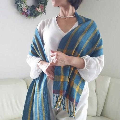 手織り 上質シルクウールマフラーストール
