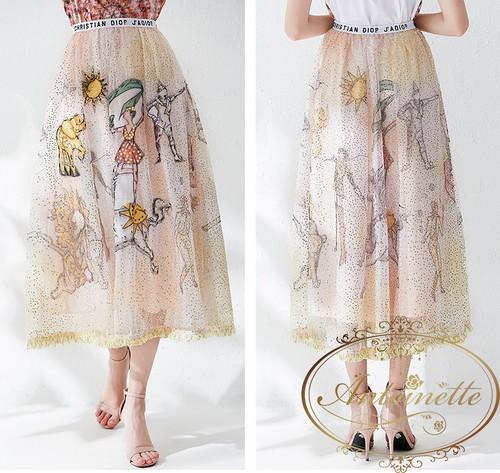 レディース チュール 柄物  スカート