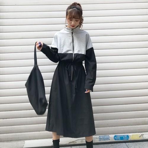 【ワンピース】優しい雰囲気韓国系配色ロングワンピース16824913