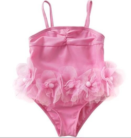 9440子供水着 女児 女の子用ワンピース水着  ロンパース ピンク