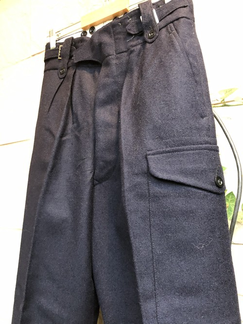 Deadstock 1950s-60s British military wool NAVY  trousers