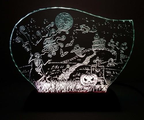 ハロウィンのガラスエッチングパネル Lサイズ・LEDスタンドセット