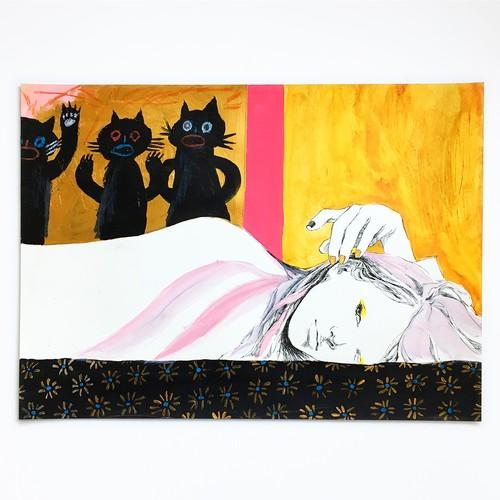【J】原画「寝れば誰かが起こしてくる」2016年制作